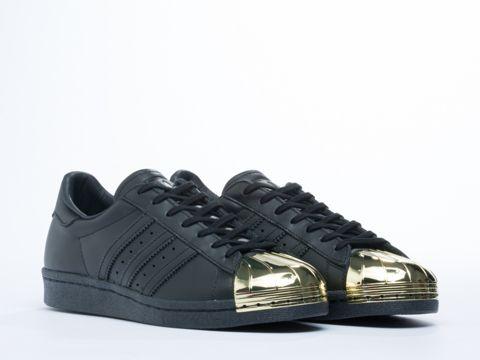 sale retailer dc4b3 d4c3e Adidas Originals Superstar 80s Metal Toe Sneakers in Black Gold at  Solestruck.com   Women s New Arrivals   Adidas superstar gold, Adidas,  Adidas sneakers