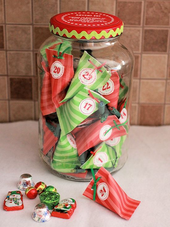 cute advent jar with free printables-includes poem for top
