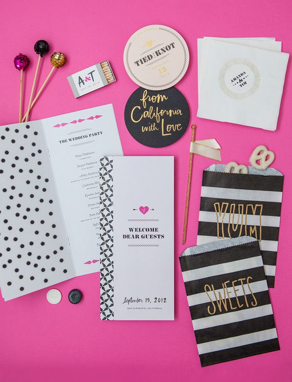 If you've incorporated a few metallic elements into your wedding, why not add a gold touch to your paper goods, too? These striped sweets bags would make for a fun, simple DIY — a gold paint marker can be your best friend. Photo by Edyta Szyszlo via 100 Layer Cake