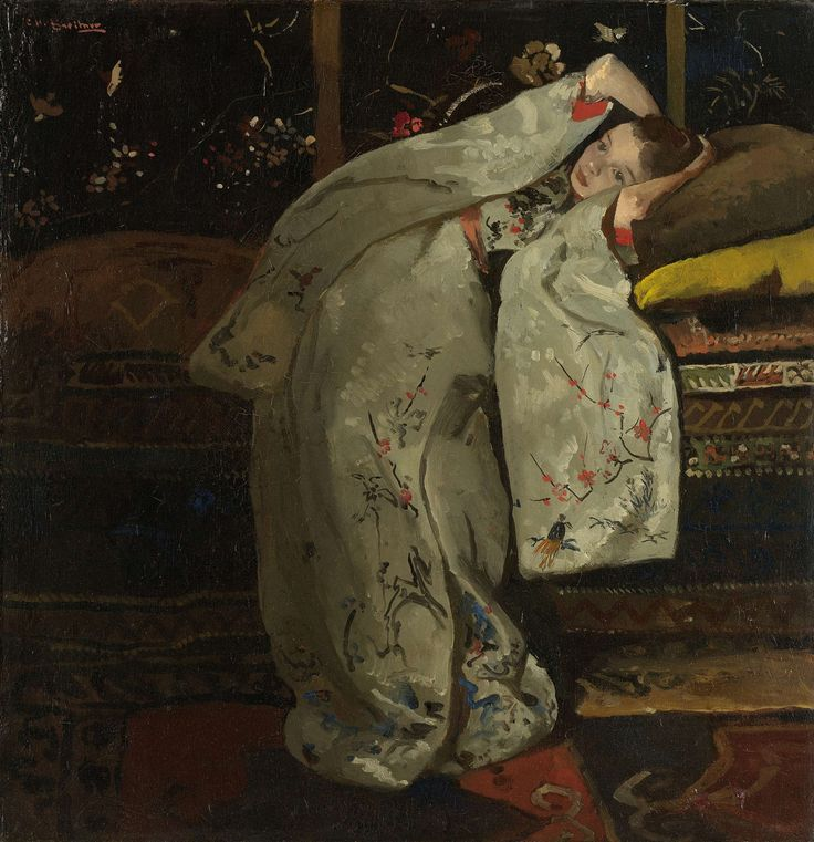 Inspired by Japanese prints, Breitner painted at least twelve versions of this girl in a white kimono around 1894. Each time, her pose is different and the kimono is a different colour. Here the embroidered white silk kimono with red trimmed sleeves and orange belt are what draw our attention. The dreamy girl is sixteen-year-old Geesje Kwak, a milliner who regularly modelled for Breitner. Meisje in witte kimono, George Hendrik Breitner, 1894.
