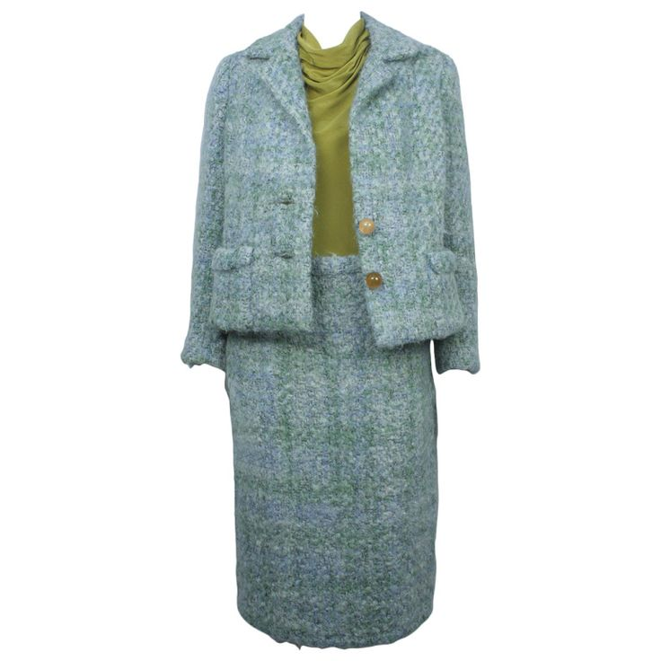 1960s Teal Traina 3 Piece Mohair Suit | From a collection of rare vintage suits, outfits and ensembles at https://www.1stdibs.com/fashion/clothing/suits-outfits-ensembles/
