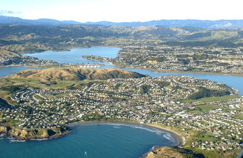 Aerial view of Porirua City looking east from Titahi Bay. Beautiful place my son has lived!!!