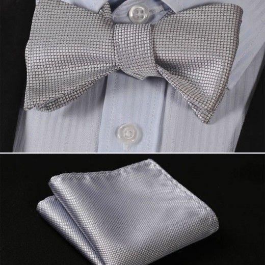 Luxusný hodvábny set - motýlik a vreckovka so vzorom v sivej farbe