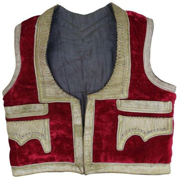 19th Century Red Velvet and Gold Metallic Vest ($295) ❤ liked on Polyvore featuring outerwear, vests, fabrics, vest waistcoat, red waistcoat, red velvet vest, red vest and metallic gold vest