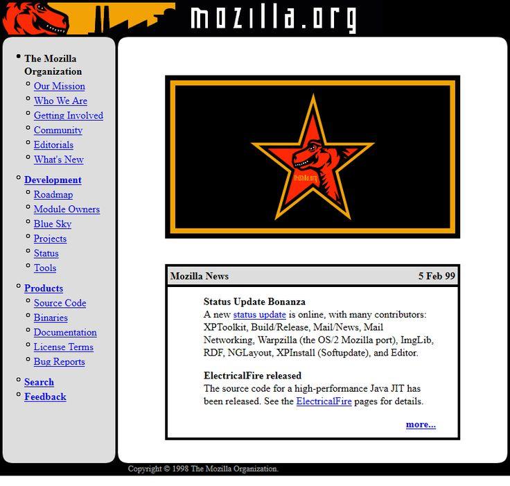 Mozilla.org website in 1999