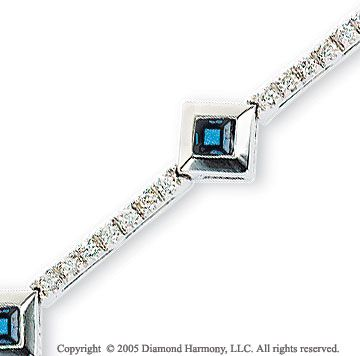 14k White Gold Princess Blue Sapphire Diamond Bracelet -> Description: This enchanting bracelet has diamonds set in its white gold links and features blue sapphires framed by smooth tilted white gold squares. Announce your arrival with this 14k White Gold Princess Blue Sapphire Diamond Bracelet. -> sku=BR190B -> Price $1120.00