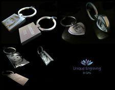 Metal Personalised Photo Engraved Keyring Birthday Wedding Gift FREE UK POSTAGE