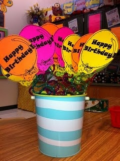Love the idea of using twisty straws!  Cheap and easy.  I'm always so bad about remember to get something together for student birthdays