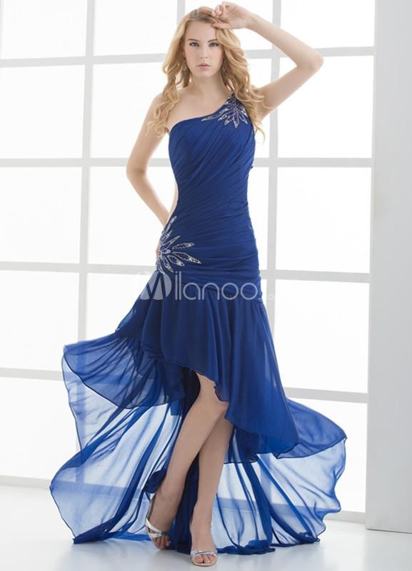 sheath asymmetric one shoulder chiffon long royal blue party dress