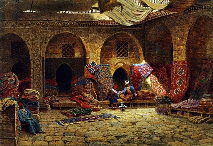 Carpet Merchant's Shop Cairo by Palmer, Harry Sutton - Watercolour over pencil, heightened with white - 1873