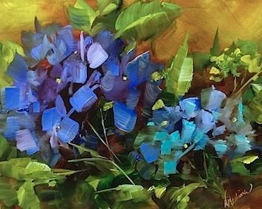 Spring Hope Blue Hydrangeas and a Tour of the Dallas Arboretum by Texas Flower Artist Nancy Medina, painting by artist Nancy Medina