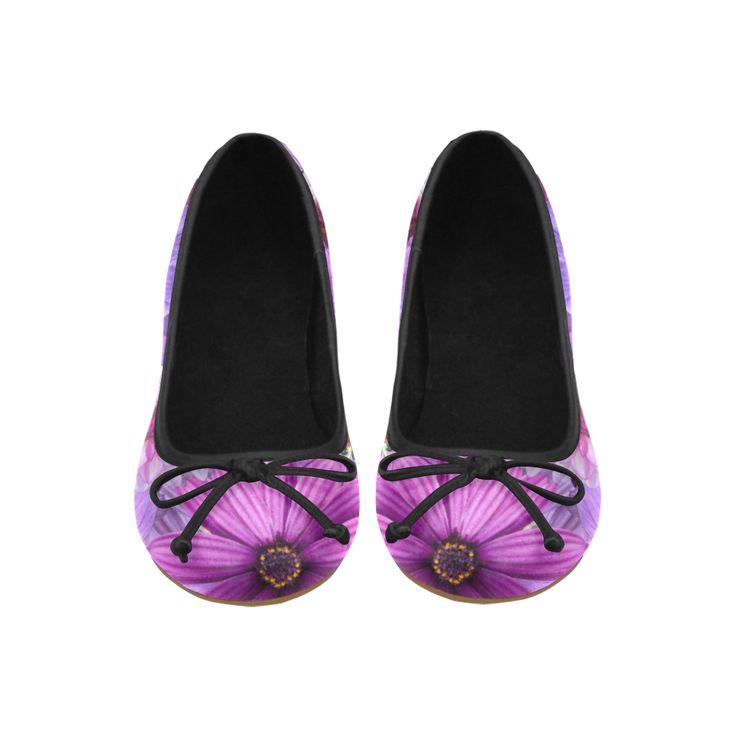 Purple flowers_ Gloria Sanchez1 Juno Ballet Pumps (Model 312)