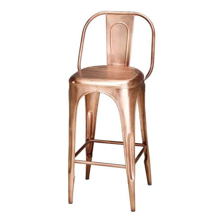 A classic vintage bar stool with back in a copper finish that is reminiscent of 1930s French bistros. Suitable for indoor use only. Please note that the seat height is not suitable for kitchen or breakfast bars.
