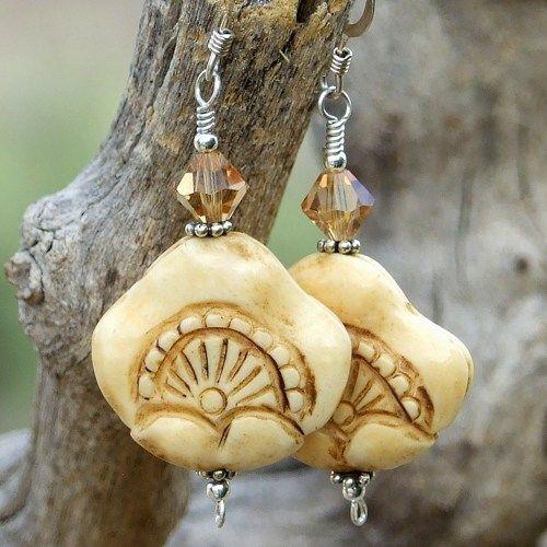 Hand carved bone earrings handmade jewelry swarovski