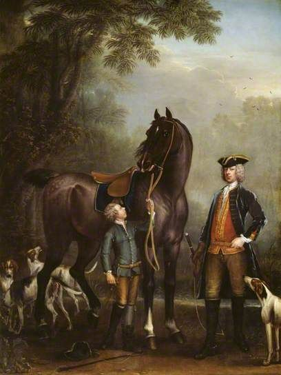 Viscount Weymouth's Hunt: The Hon. John Spencer beside a Hunter held by a Young Boy, 1733-6 by John Wootton: