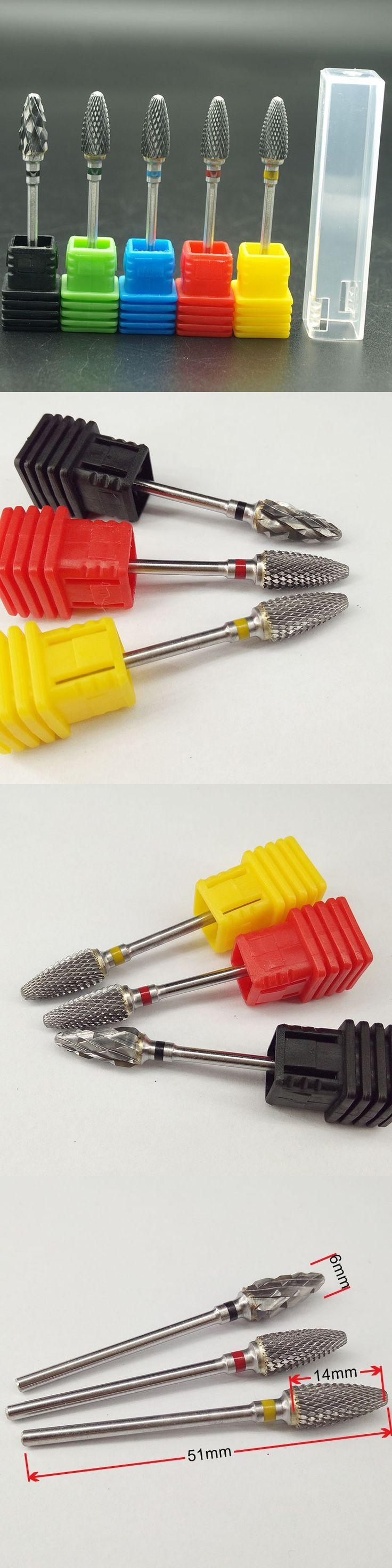 Hot 51mm Design 6.0 Flame Bit Shape Carbide Nail Drill Bit Electric Nail File Drill Bit Coarse Carbide Drill Nail Art Tool,3 siz