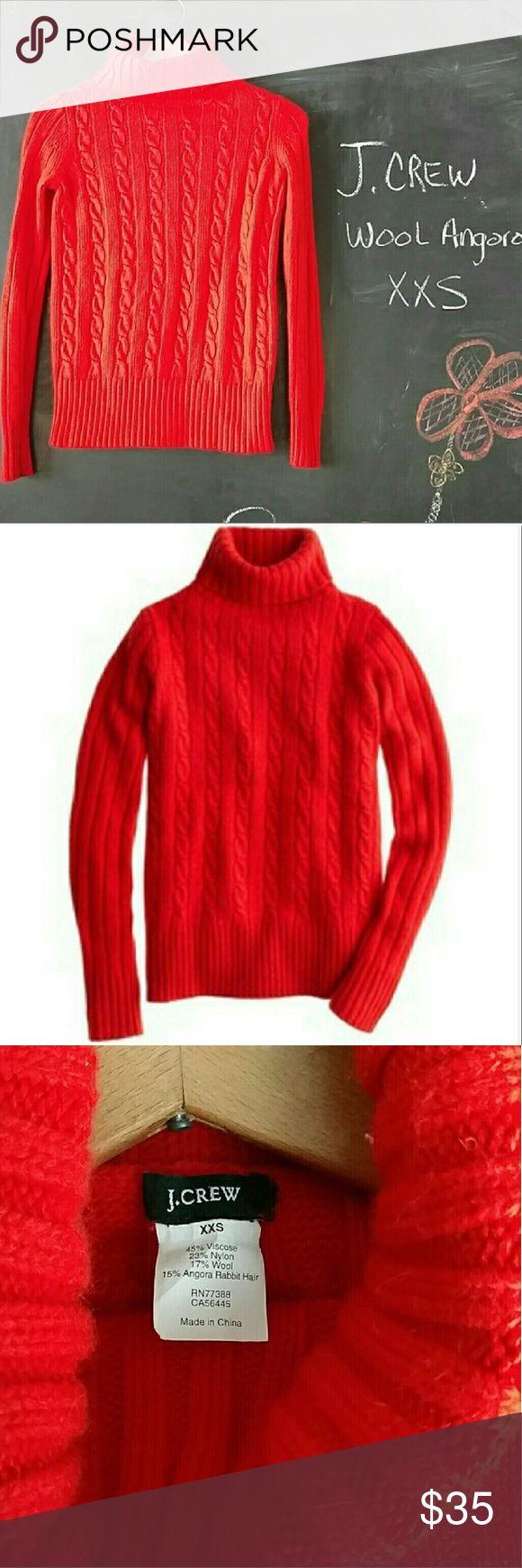 J. Crew Cambridge Cable Knit Orange Sweater XS J. Crew Cambridge Cable Knit Orange Turtleneck Sweater.  Sz XXS (fits size 0-2 women's)  Wool Angora nylon viscose blend.  Bright Orange!!!!  (Like construction orange bright!)  Turtle neck, thick sweater.  Bust 30-32 Sleeve length 22 in Sweater length 22.5  Very nice sweater in excellent condition.  No stains or wear.  Smoke and Pet free environment. J. Crew Sweaters Cowl & Turtlenecks