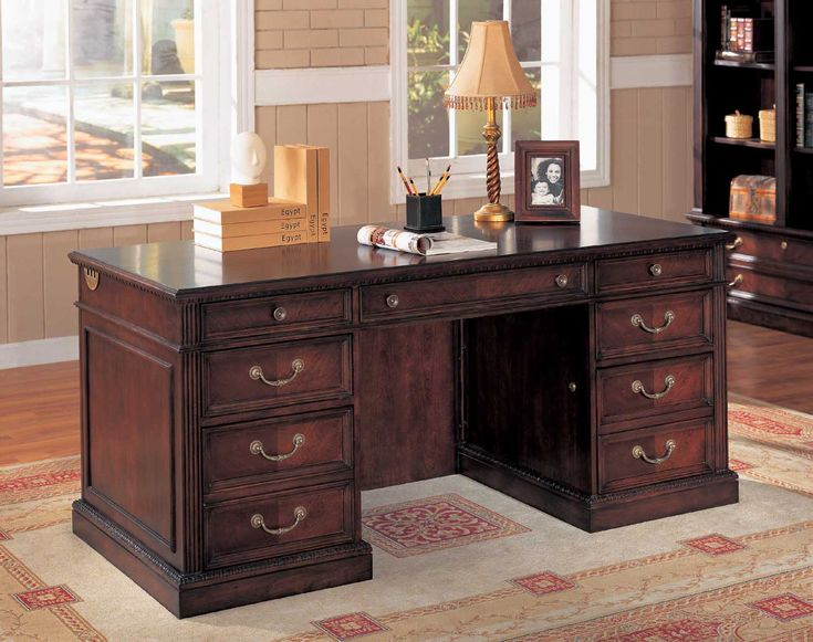 Traditional Dark Brown Wood Office Table Desks Furniture