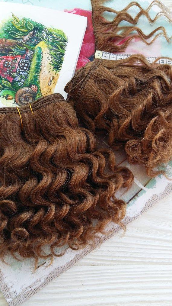 Mohair weft light brown, deep wave, doll hair, wefted mohair