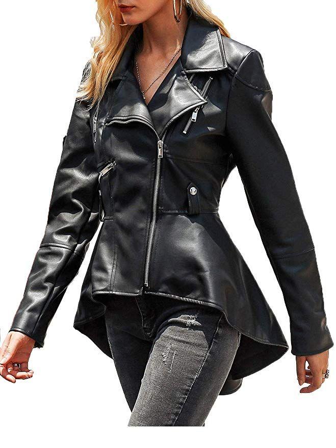 Fashiomo Women S Faux Leather Biker Jacket High Low Peplum Out Coat At Amazon Women S Coats Faux Leather Biker Jacket Leather Jackets Women Womens Faux Leather