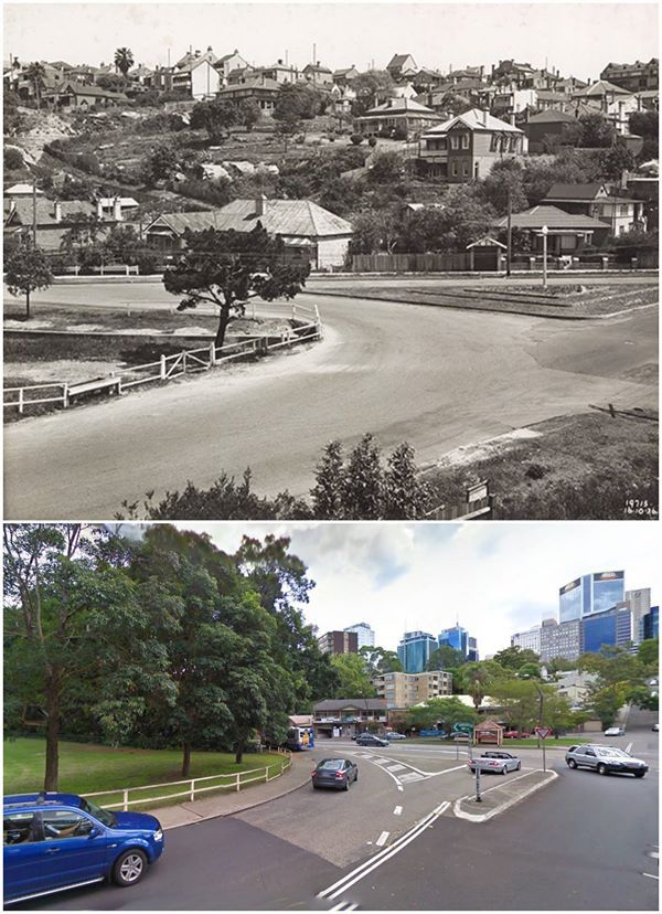 Kurraba and Clarke Rds, North Sydney 1936 & 2010 [State Records NSW & Google Maps. By Jan Harkins]