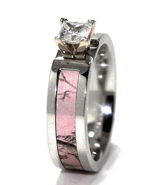 Pink Realtree AP Camo Engagement Band, Women's Outdoor Rings - Titanium-Buzz.com