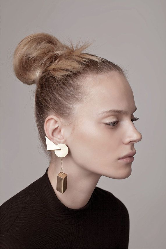 Head-turner asymmetrical ear climber featuring three geometric shapes of circle, triangle and rectangular prism. Earring is worn with a post and a hidden ear cuff ring.  > Sold individualy  > Nickel free > 18K gold plated brass > Length: 4.5 / 11 cm > Packed in labeled gift box > Handmade in Tel Aviv within 2-3 weeks > FREE shipping worldwide  Please contact us with any questions by Etsy convo or by email: info [!at] contour-studio.com