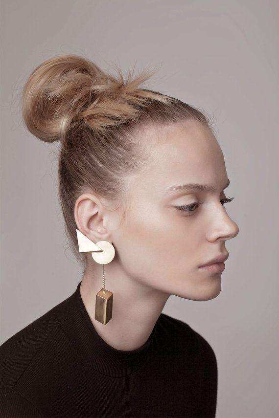 Erin Earring, gold statement earrings, gold geometric earrings, ear climber earrings gold, ear climber gold, gold dangle climber earrings
