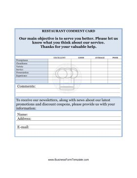 This Restaurant Comment Card collects customer feedback and ratings for your restaurant. Free to download and print