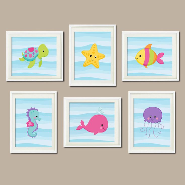 Baby Girl Nursery Art Sea Life Sea Animals Under The Sea Nursery Decor Sea Animals Bathroom Decor Set of 6 Prints Nautical Wall Art by LovelyFaceDesigns on Etsy https://www.etsy.com/listing/207530657/baby-girl-nursery-art-sea-life-sea
