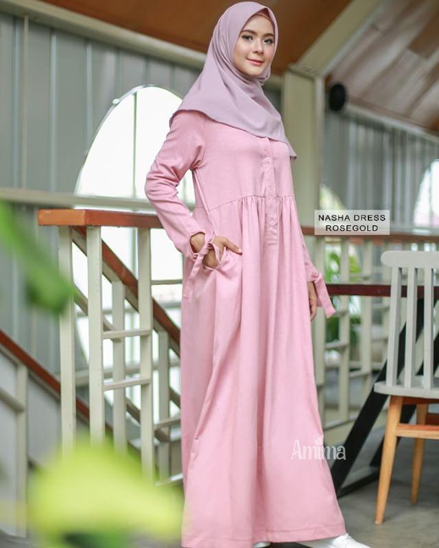 Gamis Amima Nasha Dress Rosegold - baju gamis wanita busana muslim Untukmu  yg cantik syari dan d8843e5ead