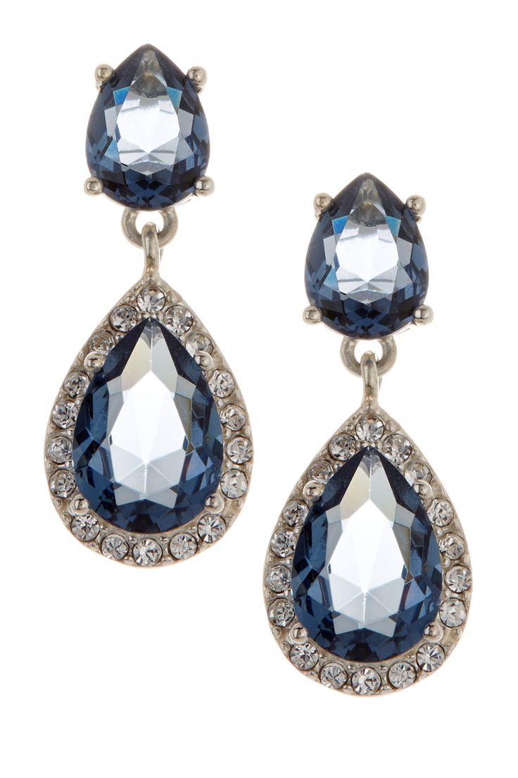 Sterling Silver Soiree Blue CZ Drop Earrings