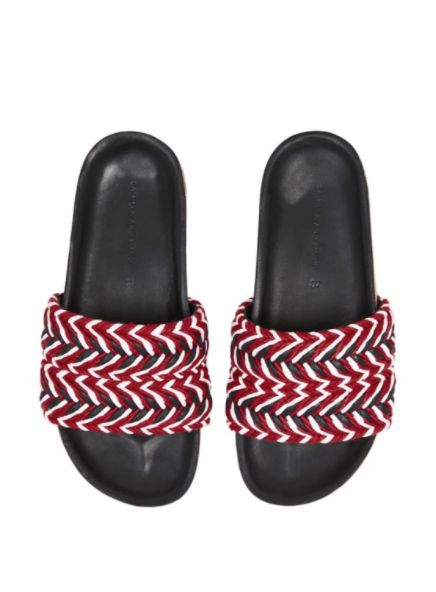 Camilla and Marc Giovanna Lambskin, Leather and Cotton Braided Sandal - Black/Red/White