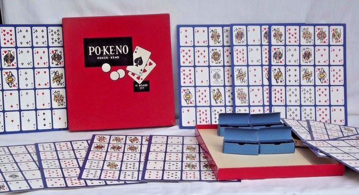 Vtg Po-Ke-No Classic Card Game 12 Board Set Complete w/ Chips Poker Keno #TheUnitedStatesPlayingCardCompany
