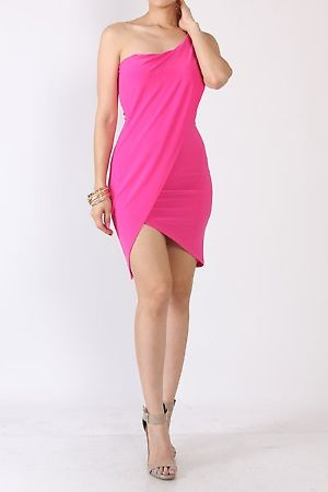 CLASSIC SOLID ONE SHOULDER MIDI DRESS FEATURES ONE SHOULDER WRAP STYLE ABOVE THE KNEES OCCASION COCKTAIL EVENING WEAR CLUBWEAR COLOR Blue Black Hot Pink 96% POLYSTER, 4% SPANDEX