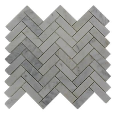 Splashback Glass Tile Oriental Sculpture Herringbone 12 in. x 12 in. Marble Mosaic Floor and Wall Tile-ORIENTAL HERRINGBONE
