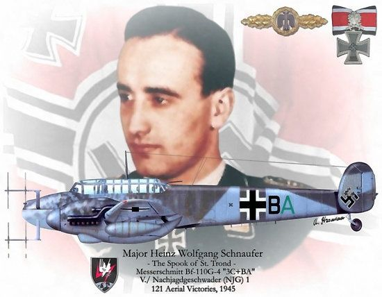 """Heinz-Wolfgang Schnaufer (16 February 1922 – 15 July 1950) was a German Luftwaffe night fighter pilot and is the highest scoring night fighter ace (Bf 110) in the history of aerial warfare. All of his 121 victories were claimed during World War II at night, mostly against British four-engine bombers. Awarded with Knight's Cross of the Iron Cross with Oak Leaves, Swords and Diamonds on 16 October 1944, Germany's highest military decoration at the time. He was nicknamed """"The Spook of St…"""