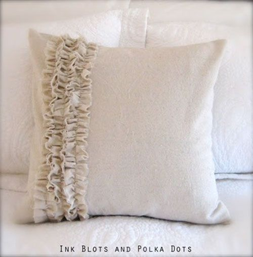 DIY Pillow Ideas: Is there nothing you can't make out of a drop-cloth? This pillow is another beautiful drop cloth project that's easy and inexpensive to make. Drop Cloth Pillow Tutorial