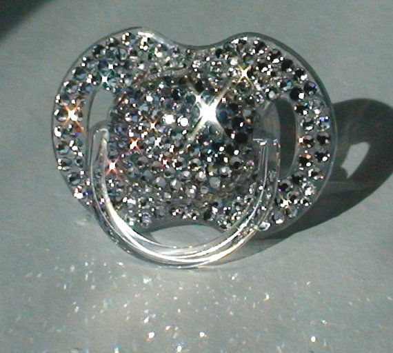 Crystal Swarovski Pacifier Princess Baby Girl Boy BLING Rhinestone Gem Jeweled Glitter Diamond Sparkle Encrusted Binky Dummy Soother 0-6m on Etsy, $39.00