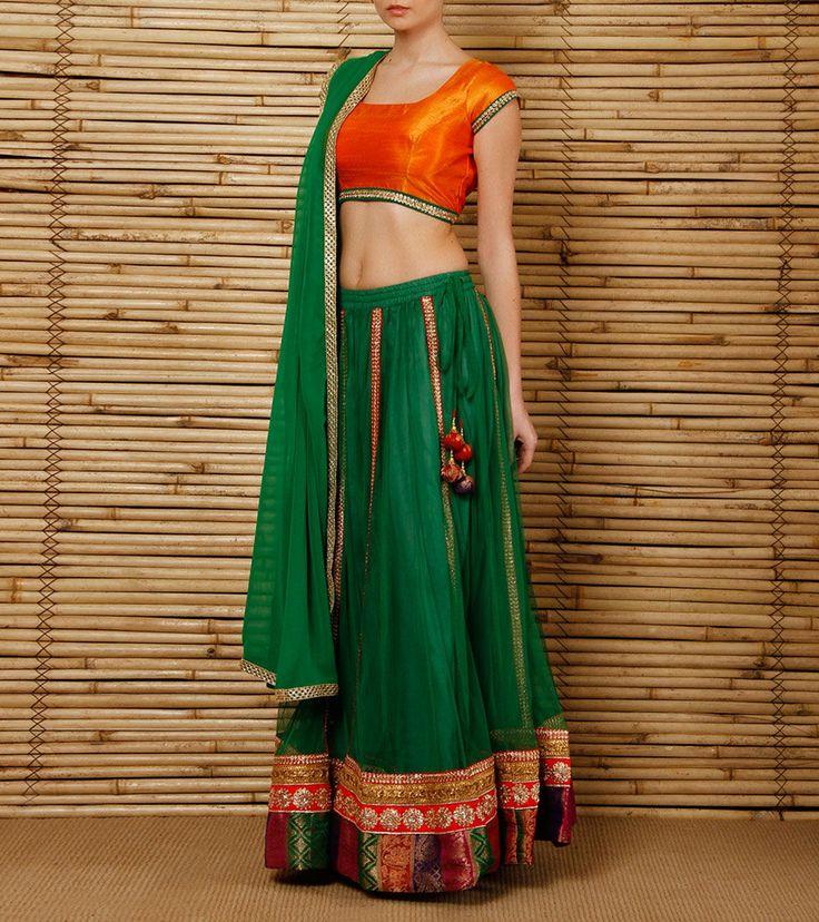 Green Net and #Brocade #Lehenga Set by #9rasa at #Indianroots