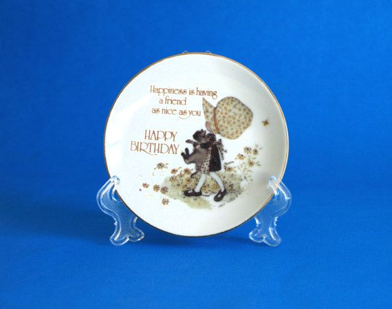 Holly Hobbie 1978 Happy Birthday Trinket Dish Plate  by FunkyKoala