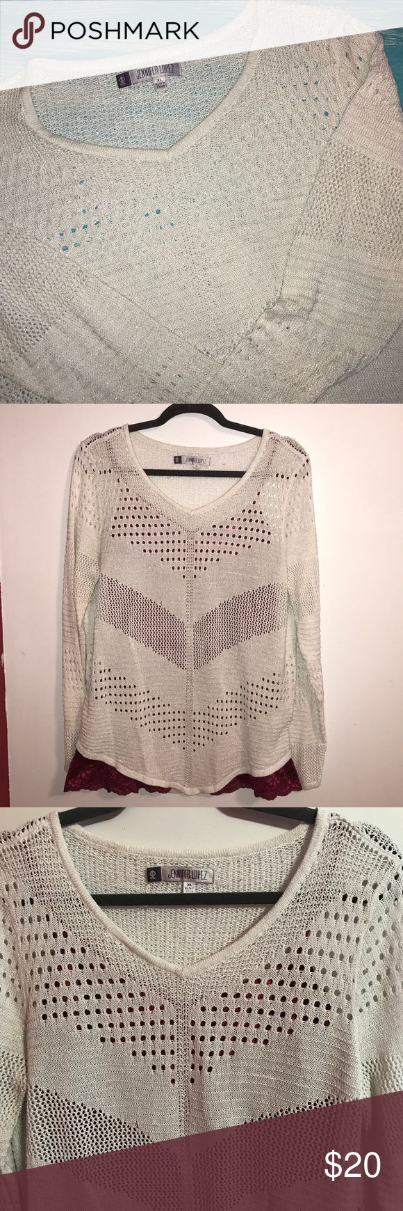 Jennifer Lopez Sweater EUC! Cami is not included, only go show contrast. Beautiful silver thread woven in and would make a great Christmas party sweater. Only hung to take the photo, otherwise it's always folded and stored in a drawer. No trades and firm price. Bundle pricing still applies. Jennifer Lopez Tops