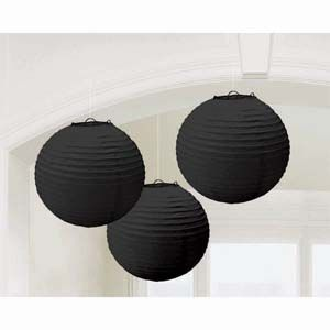 A24055/10 - Lanterns - Black Lanterns Black Round (24cm Diameter) Paper - Pack of 3. Please note: approx. 14 day delivery time.