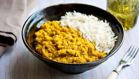 Tarka dal with rice - it's about time I tried making this, always wanted to give it a go  AM:  This ended up being a little bit mushy and mashed potato texture, plus wasn't spicy at all.  Would adjust recipe some next time. 4-2015