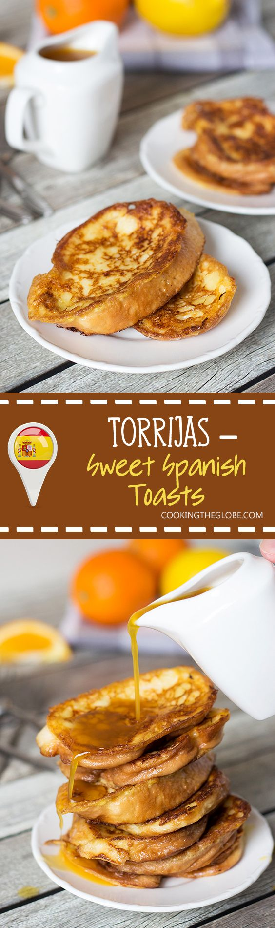 These sweet Spanish toasts, called Torrijas, are soaked in milk and drizzled with an orange-brandy syrup! | cookingtheglobe.com