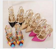 Para mujeres Damas Zapatos De Taco Alto Fiesta Boda Tribunal Zapatos Sandalias Size Uk 2 - 9