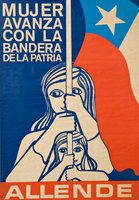 "Nattino, ""Mujer avanza con la bandera dela patria"" (""Women Advance with the Flag  of the Motherland"") (1970). la Unidad Popular (Popular Unity), Chile. Courtesy of Centro de Documentación Salvador Allende."