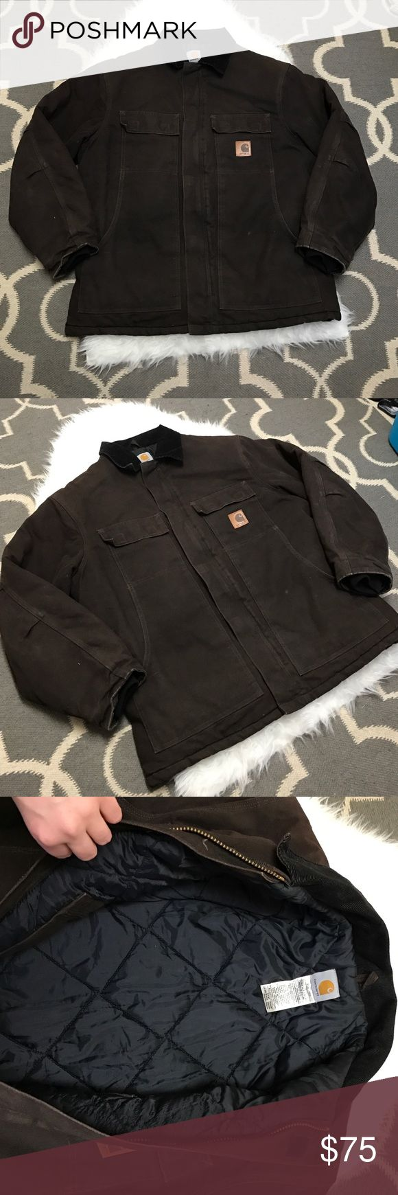 Men's Carhartt Coat Men's Carhartt coat. Quilted interior, interior pockets, draw string waist (interior),zip and Velcro. Gently used but still in excellent condition! No holes, rips or worn areas. Chocolate brown. open to reasonable offers. Carhartt Jackets & Coats