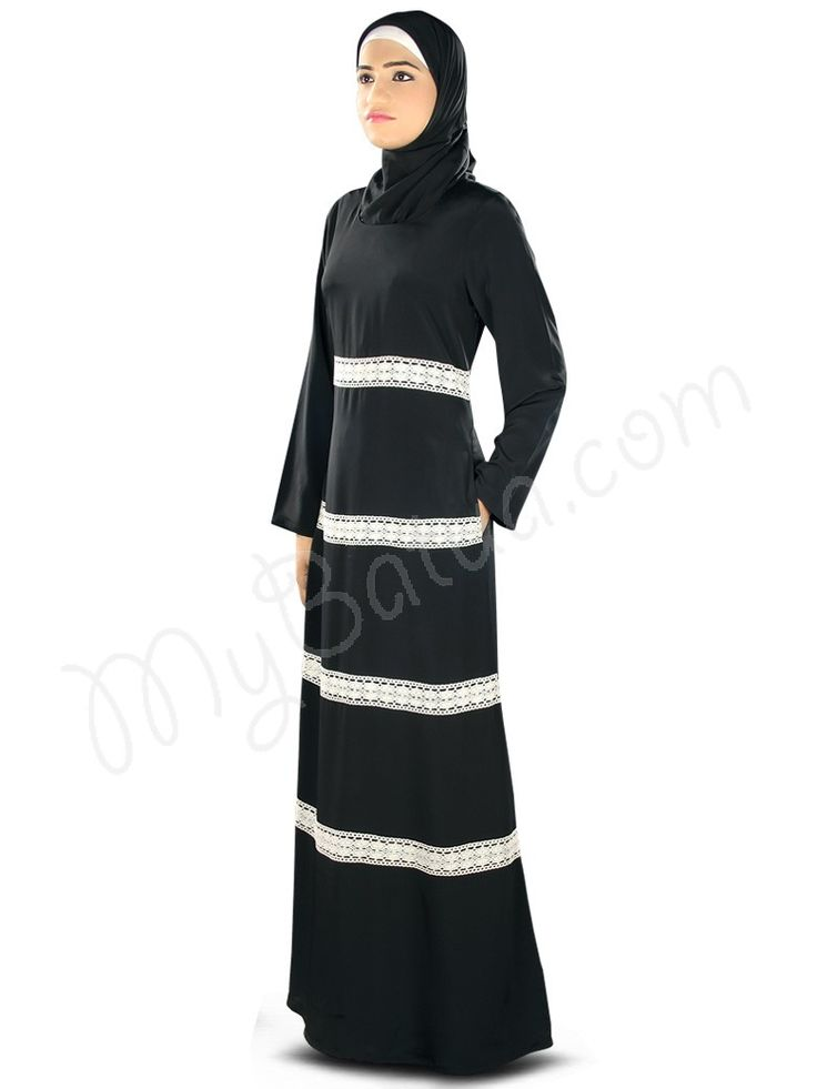 Simple Black Abaya with crochet lace | MyBatua.com  Fara Abaya!  Style No: Ay-327  Shopping Link: http://www.mybatua.com/fara-abaya  Available Sizes XS to 7XL (size chart: http://www.mybatua.com/size-chart/#ABAYA/JILBAB)  Graceful MyBatua Abaya designed with crochet lace, simply smart yet elegant dress in black, perfect attire for casual daily wear use!