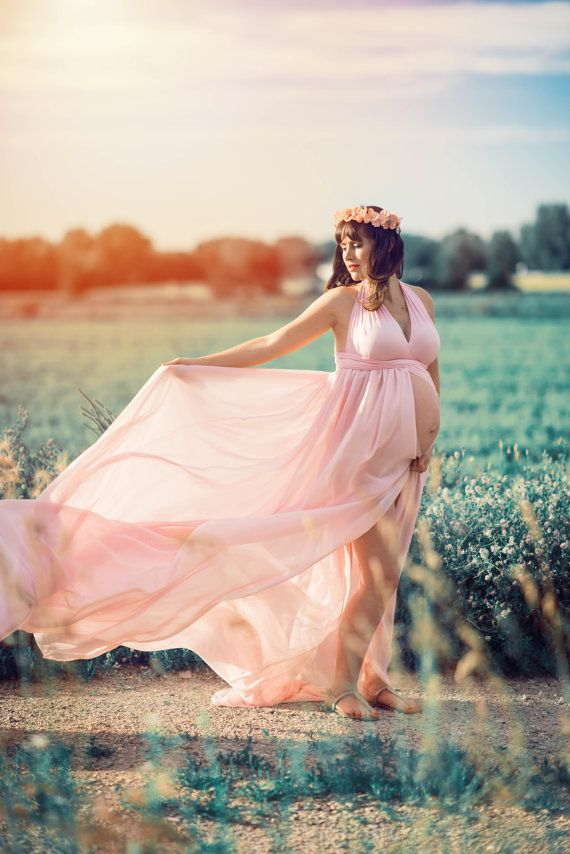 Maternity dress pregnancy gown photoshoot dress blush
